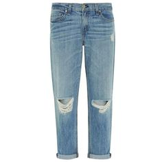 Rag & Bone Distressed Boyfriend Jeans (425 CAD) ❤ liked on Polyvore featuring jeans, pants, bottoms, pantalones, destructed boyfriend jeans, loose straight jeans, distressed jeans, blue jeans and destroyed boyfriend jeans