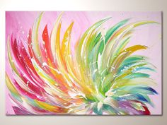 """Original modern art painting """"blossom in light"""" , abstract contemporary artwork, wall decoration,acrylics,tree,colorful,nature,flower,decor"""