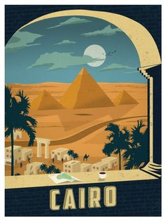 Vintage travel poster Cairo by Alex Asfour