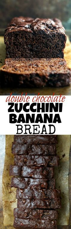 Double Chocolate Zucchini Banana Bread - zucchini, bananas, and Greek yogurt keep this loaf extra soft without the need for any added butter or oil! This bread is so tender and flavourful, you'd never (Bake Squash Greek Yogurt) Mini Desserts, Just Desserts, Delicious Desserts, Dessert Recipes, Yummy Food, Zucchini Banana Bread, Zucchini Desserts, Chocolate Zuchinni Muffins, Desserts