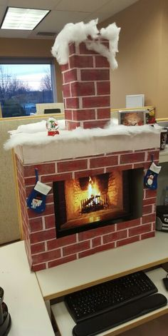 Christmas fireplace surround for your computer. I want to do this.