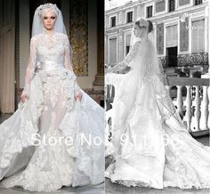 Zuhair Murad Collection Luxury Muslim Design High Neckline Long Sleeves Lace Wedding Gown Mermaid Cathedral Bridal Dress, $462.81 | DHgate.com