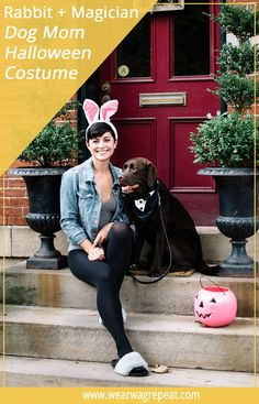 Get in the spirit with a Halloween Couples Costume With Your Dog: Magician and Rabbit! This easy costume is perfect for trick or treating with your dog! Cute Halloween Costumes For Teens, Easy Diy Costumes, Dog Halloween, Halloween Couples, Costume Ideas, Halloween Ideas, Dog Tuxedo, Horse Costumes, Dog Friends