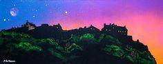 An original painting & prints for sale of Edinburgh Castle at Sunset, Scotland by Scottish landscape artist Andy Peutherer. Edinburgh Castle, A Level Art, Gcse Art, Contemporary Landscape, Prints For Sale, Painting Prints, Landscape Paintings, Scotland, Original Paintings