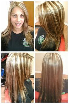 2 color highlight...blonde slices and dark blonde weave with solid brown underneath. What I don't want.... Stripes....