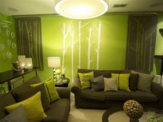 Modern Lime Green And Orange Living Room With Regard To Interior
