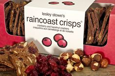 Lesley Stowe's Raincoast Crisps..... seriously the best crisps (all flavours) for foodies- crisps, fine cheeses & wine..*perfect*  www.lesleystowe.com - Crossing fingers that I'll be able to find these down south.