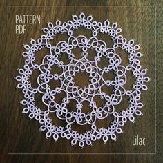 Best 11 PDF pattern of tatting lace doily Lilac This is PDF pattern. You can use this pattern immediately. Not including printed matters. The pattern is visual chart only. Pattern is written in English/Japanese. Shuttle Tatting Patterns, Needle Tatting Patterns, Tatting Jewelry, Tatting Lace, Doily Patterns, Crochet Patterns, Crochet Edgings, Crochet Motif, Crochet Shawl