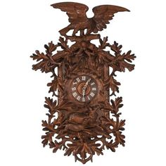 Antique 19th Century Carved Black Forest Cuckoo Wall Clock | From a unique collection of antique and modern clocks at https://www.1stdibs.com/furniture/decorative-objects/clocks/