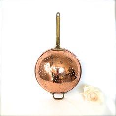 Vintage Copper Colander strainer with brass by EllasAtticVintage