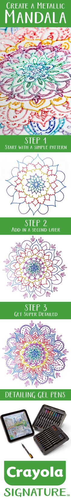 Create a Metallic Mandala with Crayola Signature Series Gel Pens!