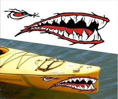 SHARK-TEETH-MOUTH-DECAL-STICKERS-KAYAK-CANOE-JET-SKI-HOBIE-DAGGER-OCEAN-boat-a1