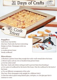 Cork Trivet - a DIY craft the whole family can enjoy for years to come. Fun Crafts, Diy And Crafts, Arts And Crafts, Wine Christmas Gifts, Cork Trivet, Champagne Corks, Wooden Picture Frames, Craft Gifts, Cool Designs