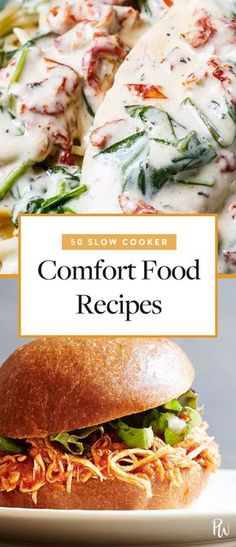 Presenting 50 slow cooker comfort-food dinner ideas that are perfect for sweater weather. Get all the recipes here. #slowcookerrecipes #slowcooker #comfortfood #dinnerrecipes #recipes #crockpot #crockpotrecipes