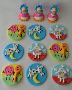 Nursery Rhyme Edible Fondant Cupcake Toppers by DoughReMiDesigns, $25.00