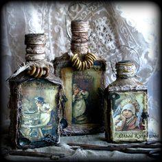 "Photo from album ""Ручная работа on Yandex. Pill Bottles, Empty Bottles, Bottles And Jars, Diy Bottle, Wine Bottle Crafts, Bottle Art, Altered Tins, Altered Bottles, Altered Art"