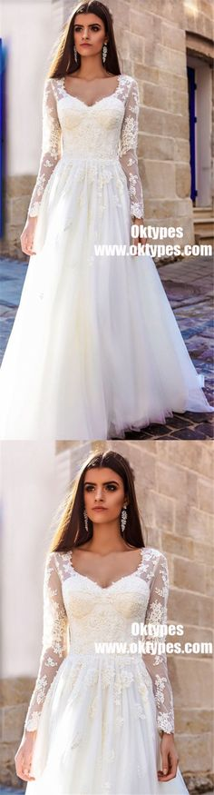 a2aadf52398 Long Sleeve Lace A-line Cheap Wedding Dresses Online