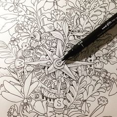 Preview of some work waiting for you to color in my next coloring book #Imagimorphia.  by kerbyrosanes