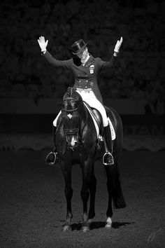 She is so happy with herself and her horse. That feeling of powerful harmony, as if they can read our mind, all without force, as if we were a centaur. Thats Dressage!