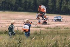 Simon Stålenhag Art Gallery sci-fi science fiction polis cops police kids control droid robot destroy reality non-fiction woods grass field Arte Sci Fi, Sci Fi Art, Ralph Mcquarrie, Illustrations, Illustration Art, Digital Painter, Digital Art, Digital Paintings, Art Science Fiction