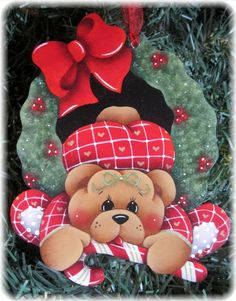 HP TEDDY BEAR Wreath and Candy Cane ORNAMENT #Handpainted