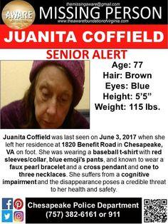 Find Missing Juanita Coffield!