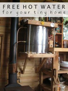 Free Hot Water | Providing free hot water to your tiny home can save you big bucks. Learn how to harness heat from a stove and transfer it to your water.