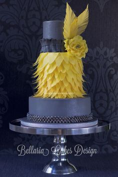 Charleston wedding cake inspired by Zoe Clark ~ feather gray and yellow with wafer paper accents  ~ all edible    		 	 		 		Feather, Grey, Yellow, Wafer Paper