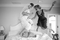FUN BRIDAL PARTY PHOTOS #1. Wake Up, It's Your Wedding Day!: Getting married doesn't mean you can't still enjoy the silly, childhood pleasures in life. Chief among them: Jumping on the bed with your best friend.