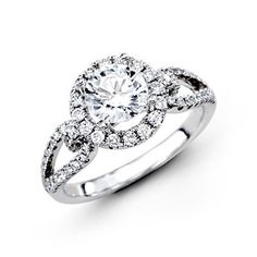 Simon G. 18Kt White Gold Halo Design Engagement Ring With 0.49 Twt Diamonds. http://bengarelick.com/products/simon-g-18kt-white-gold-halo-design-engagement-ring-with-0-49-twt-diamonds
