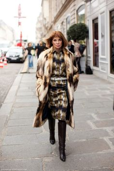 Anna Wintour in Celine Pre-Fall 2012 Fur Coat, Celine Pre-Fall 2012 Digital Print Shirt Dress, Giuseppe Zanotti Slouchy Over-the-Knee Boot. photo tag
