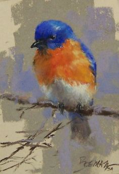 Bluebird Pastel Painting by Mike Beeman - sold Mehr Watercolor Bird, Watercolor Paintings, Painting Art, Watercolors, Love Birds Painting, Pinturas Em Tom Pastel, Pastel Artwork, Pastel Paintings, Pastel Drawing