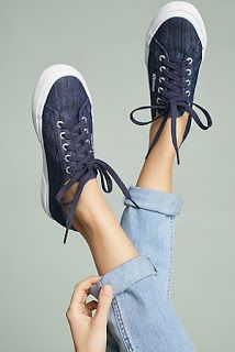 Anthropologie Favorites:: #ACCESSORIES Denim Sneakers, All Black Sneakers, Shoes Sneakers, Modern Wardrobe, Athleisure Outfits, Cropped Trousers, Superga, Chuck Taylor Sneakers, Fashion Shoes