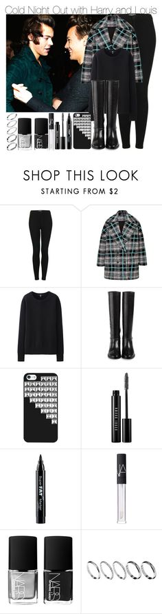 """Cold Night Out with Harry and Louis"" by elise-22 ❤ liked on Polyvore featuring Topshop, MSGM, Uniqlo, Cole Haan, Bobbi Brown Cosmetics, NYX, NARS Cosmetics and ASOS"