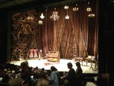 Check out the chandeliers and also the graphic elements going on at the back of the set really nice! Into the Woods-McCarter Theater Set Theatre, Set Design Theatre, Prop Design, Stage Design, Film Inspiration, Design Inspiration, Teaching Theatre, Design Research, Stage Set