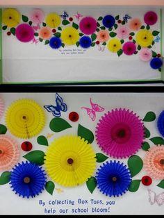 Honeycomb Tissue Paper Fan Spring Bulletin Board