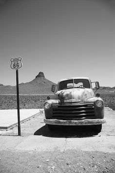Route 66 - Old Chevy and Shield in the Arizona desert. Wall Art at http://frank-romeo.artistwebsites.com/