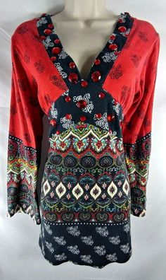 Lat Ykka NEW Multi-Color Embellished Empire Waist BoHo Tunic Top Ladies M | Clothing, Shoes & Accessories, Women's Clothing, Tops & Blouses | eBay!