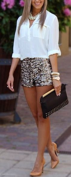 Sequin Shorts. White Blouse. Clutch