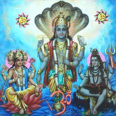 Hindu Art | Brahma, Vishnu, Mahesh - The Holy Trinity