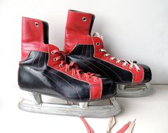 Vintage Ice Hockey Skates Black and Red Leather by BringTheNoise