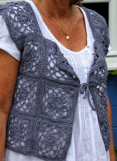 crocheted lotus lace vest- gilet au crochet- pattern at Rowan