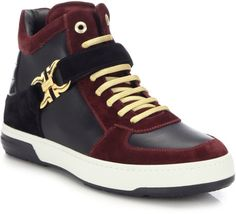 Ferragamo | Purple Nayon Leather High-top Sneakers for Men | Lyst