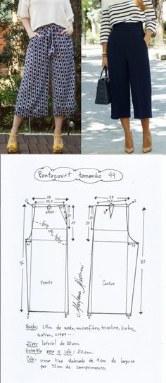 New Free sewing pants tutorial Style Dress Sewing Patterns, Sewing Patterns Free, Free Sewing, Sewing Tutorials, Clothing Patterns, Pattern Sewing, Sewing Diy, Pattern Drafting, Sewing Projects
