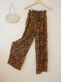 80s/90s Floral Chiffon Palazzo Pants/ Wide by brickandmortarshop, $30.00