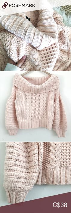 "H&M Cropped Cable Knit This chunky cable knit is a slightly cropped off the shoulder style sweater with so much character!! A heavier weight super soft wool blend featuring billowed sleeves and ribbed edging in a delicate soft pink hue.   Approx measurements laying flat: Shoulder to hemline 18"" Sleeve 23""  Pre-owned in excellent condition!! Like new. No flaws. H&M Sweaters Plus Fashion, Fashion Tips, Fashion Trends, Cable Knit, Hue, Hemline, Wool Blend, Delicate, Flaws"