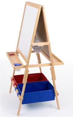 Double Sided Dry Erase U0026 Blackboard Easel With Trays   Wooden Frame