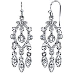 1928 Jewelry Crystal Chandelier Drop Earrings ($21) ❤ liked on Polyvore featuring jewelry, earrings, long chandelier earrings, crystal jewelry, pandora jewelry, sparkly earrings and nickel free jewelry