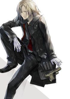 blonde_hair gloves grey_eyes guilty_crown gun hair_over_one_eye highres long_hair male official_art redjuice solo tsutsugami_gai weapon