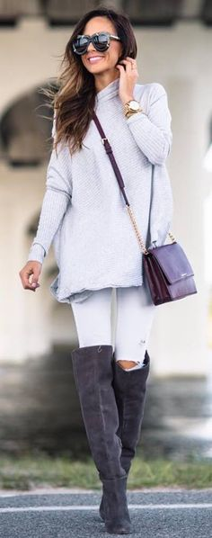 fall fashion trends / sweater dress + bag + white rips + over the knee boots